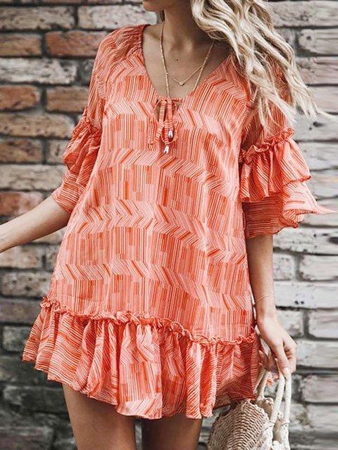 V Neck Red Women Summer Swing Chiffon Dresses