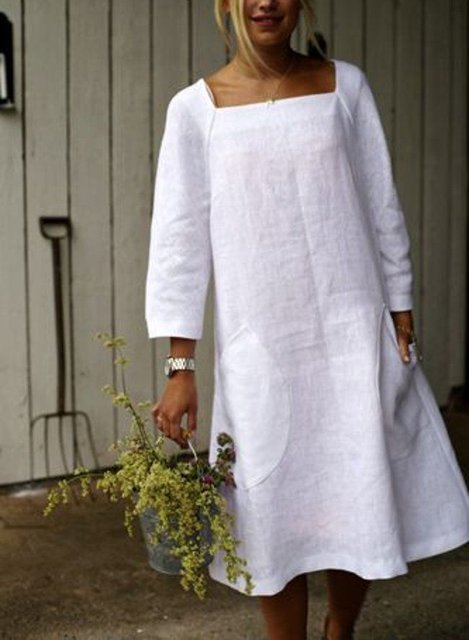 Casual Solid Long Sleeve Pockets Dresses