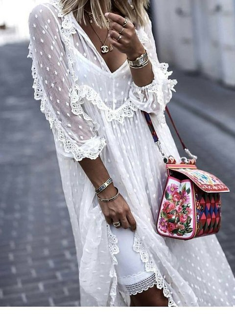 Solid Guipure Lace 3/4 Sleeve Boho Dresses