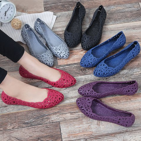Women Casual Comfy Beach Shoes Hollow-out PVC Slip-On Flats