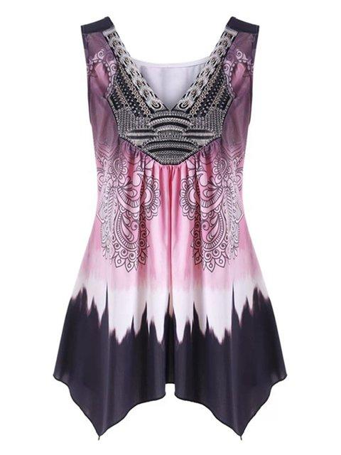 Plus Size Sleeveless Casual Print Asymmetric Camis Tunic Tops