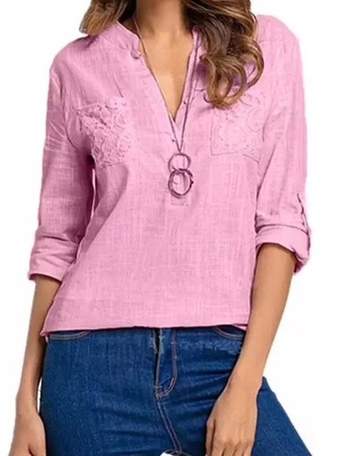 Casual 3/4 Sleeve Stand Collar Blouses Plus Size Tops