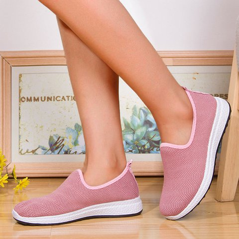 Women Casual Comfy Knitted Fabric Slip-On Sneakers