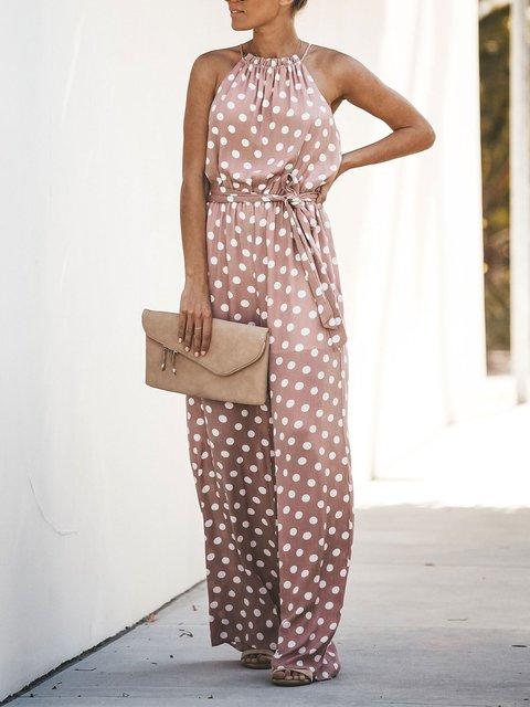 Women's Sleeveless Casual Polka Dot Jumpsuit Romper