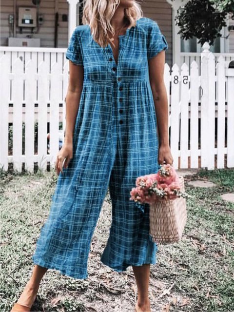 Checkered Short Sleeve Buttoned Casual Jumpsuits