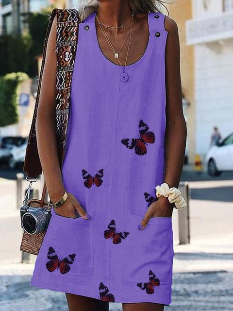Crew Neck Women Summer Dresses Casual Animal Dresses