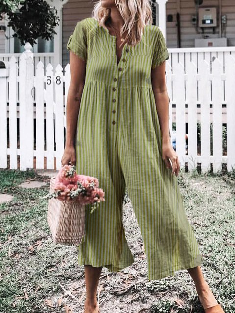 Casual Short Sleeve Striped Jumpsuits