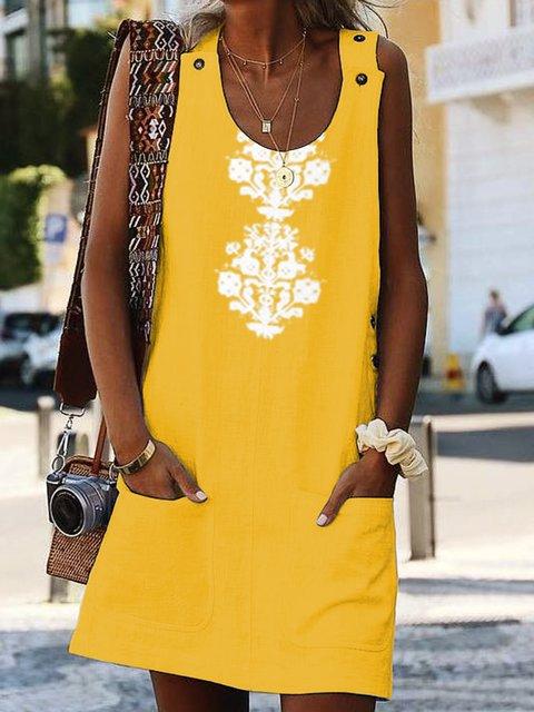 Crew Neck Women Summer Dresses Shift Cotton-Blend Dresses