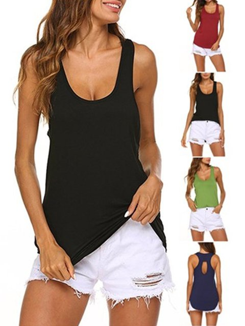 Summer Cut-out Back Sleeveless Casual Tanks