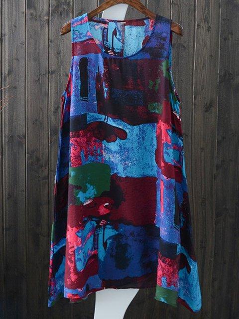 Women Dresses Shift Daily Linen Printed Dresses