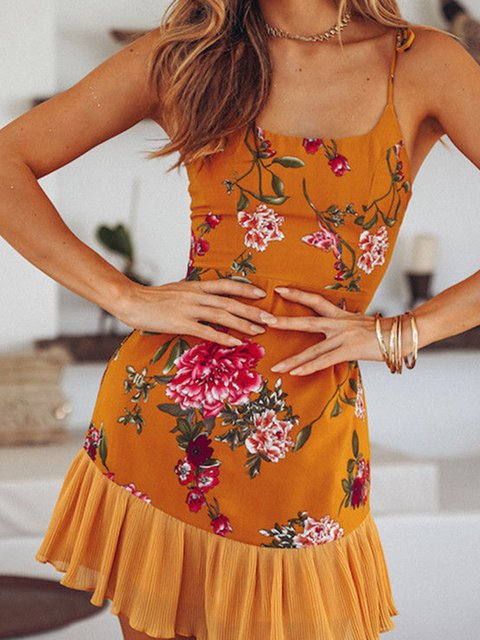 Orange Women Summer Dresses Beach Holiday Floral-Print Dresses