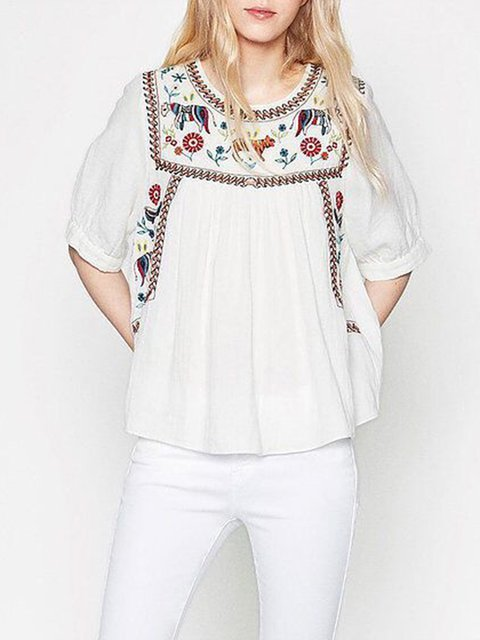 White Half Sleeve Embroidery Blouse