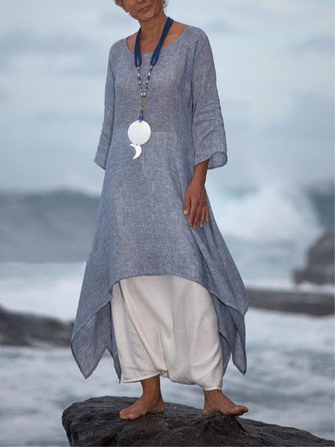 Women Summer Linen 3/4 Sleeve Daytime Crew Neck Asymmetric Dresses