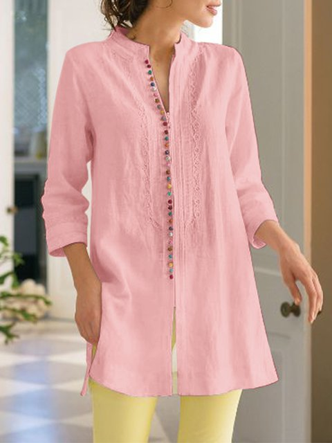 Ladies Fashiob Long Sleeves Casual Linen Shirt Dresses