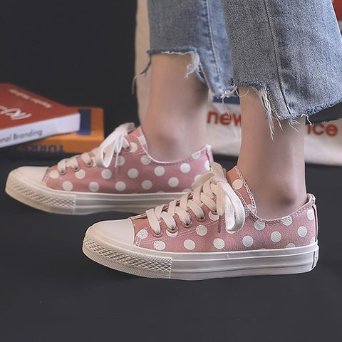 Women's Casual Polka Round Toe Lace-Up Sneakers