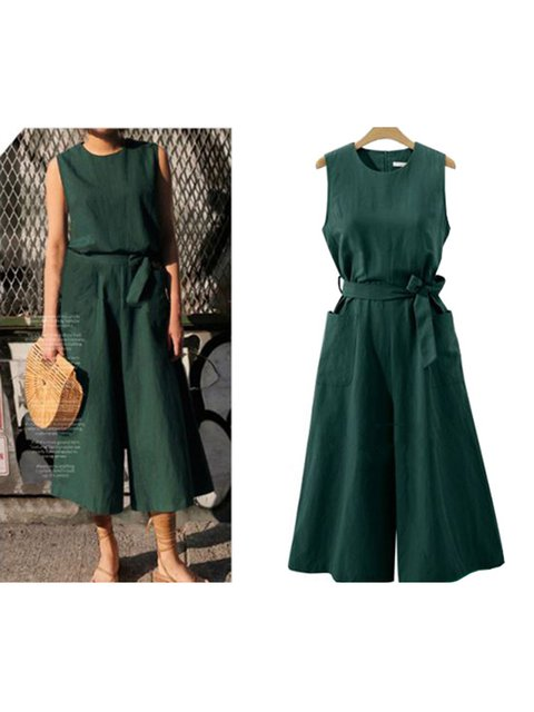 Summer Pockets Sleeveless Solid Casual Cotton Jumpsuits with Belt