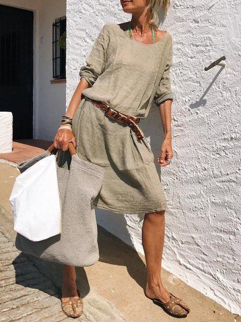 Vintage Women Long Sleeves Loose Casual Daytime Dresses