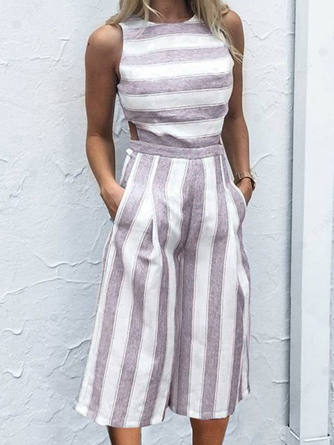 Summer Striped Crew Neck Sleeveless Shift Jumpsuits