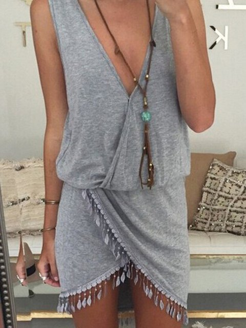 Summer V Neck Fringed  Asymmetrical Sexy Casual Dresses
