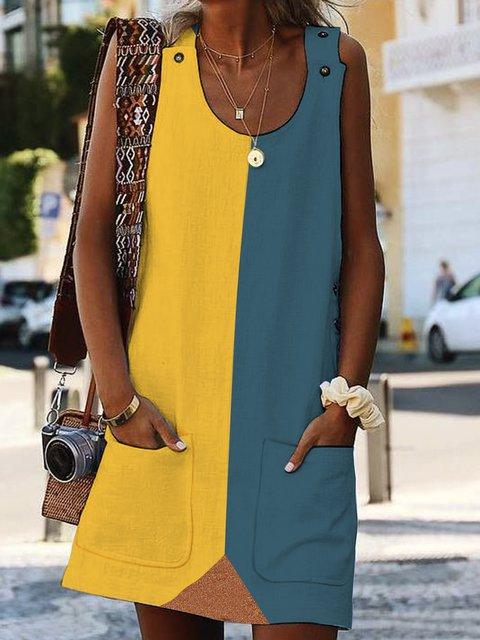 Summer Pockets Paneled Shift Casual Dresses