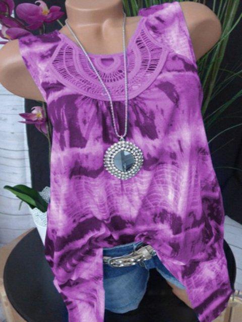Summer Tie-Dye Printed Sleeveless Casual Tank Top
