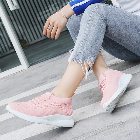 Women's Mesh Fabric Breathable Lace-Up Sneakers