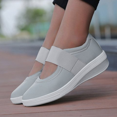 085e7b54ea35 Justfashionnow Accessories Round Toe Casual Elastic Band Wedge Heel ...