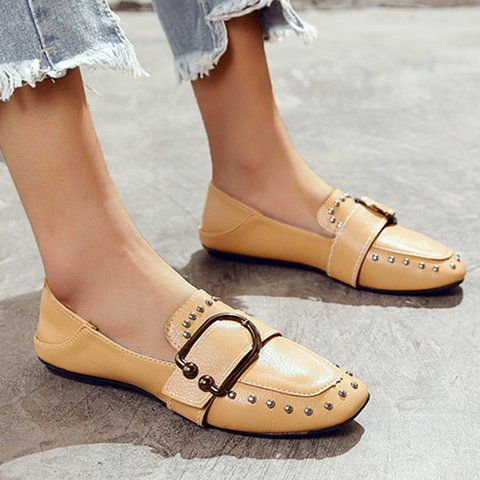Vintage Square Toe Rivet Low Heel Slip-On Flats
