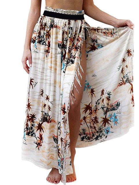 Summer Floral Slit Skirts