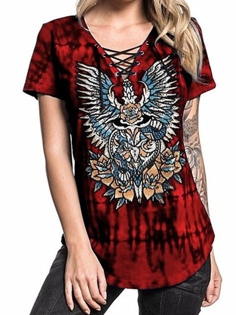 Tie-dyed Short Sleeved Casual T-Shirts