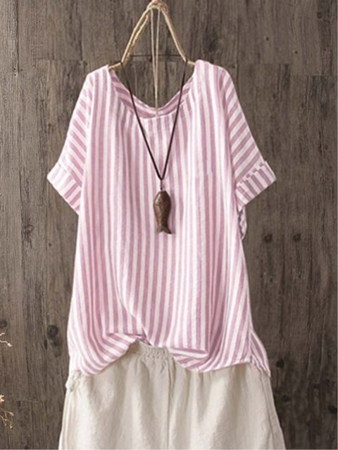 Casual Striped Crew Neck Short Sleeve Linen Plus Size Shirt