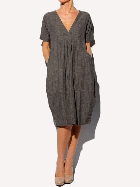 Solid Short Sleeves V Neck Casual Dresses
