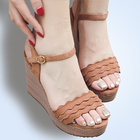 bb75145a885c Justfashionnow Creepers   Wedges Casual Ruffles Wedge Heel Peep Toe Brown  Creepers   Wedges