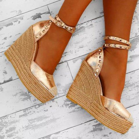 Golden Wedge Heel Pu Buckle Casual Sandals