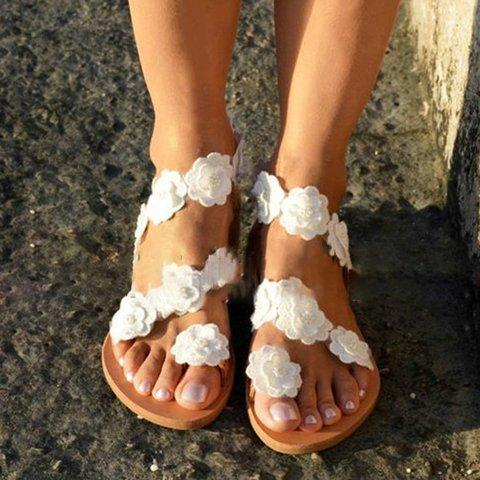 Women Beach Flowers Sandals Casual Flip Flops Flat Shoes