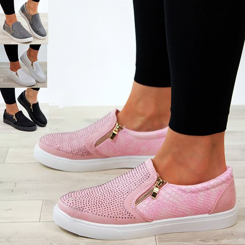 New Womens Casual Sneakers Flat Slip On Pumps Shoes Plus Sizes