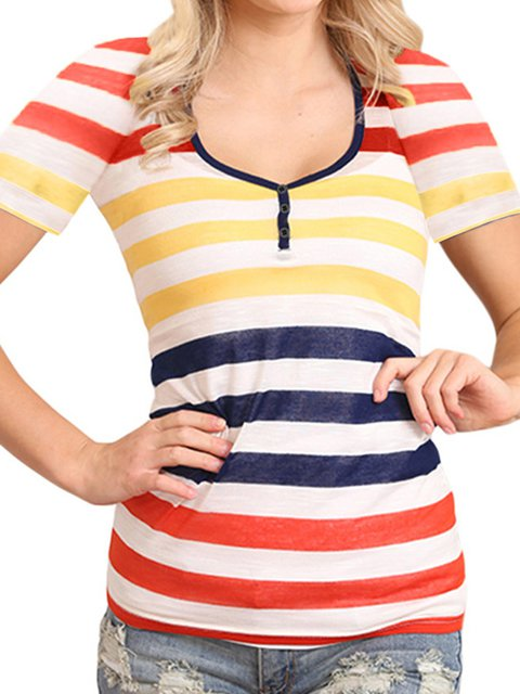 Striped Dyed Casual V Neck T-Shirts