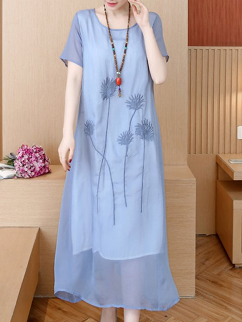Crew Neck Women Dresses Shift Daily Elegant Embroidered Dresses