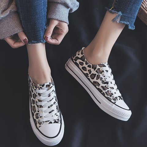 Women's Leopard All Season Lace-Up Sneakers