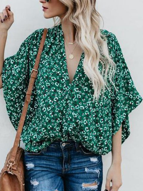 Green Abstract Printed Sweet Blouse