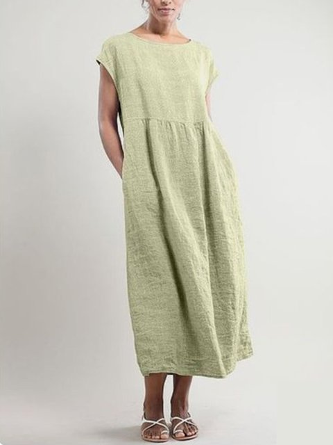 Women Shift Dress Daily Pockets Midi Dress