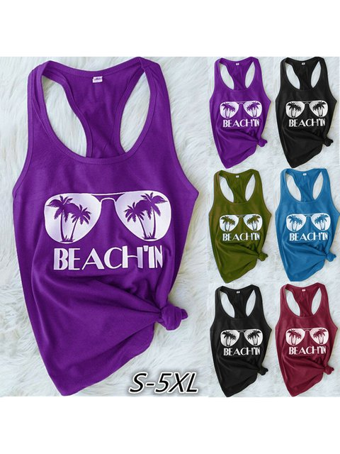 Size S-5XL Summer Printed Sleeveless Casual Tanks