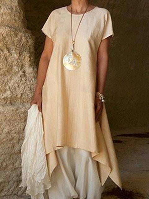 Summer Linen Round Neck Asymmetrical Casual Dresses