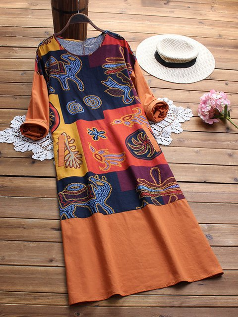 Round Neck Women Casual Dresses Printed/dyed Dresses