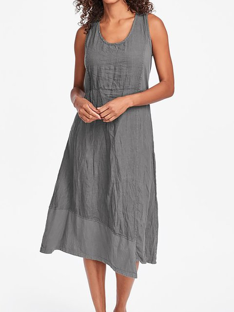 Women Midi Dresses Shift Daytime Plus Size Dress Paneled Solid Dresses