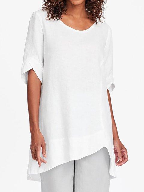 Asymmetrical Hem Short Sleeve Plus Size Shirts Tunic Tops