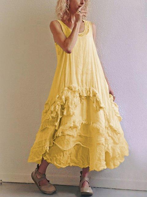 Women's Sleeveless Casual Round Neck Dresses