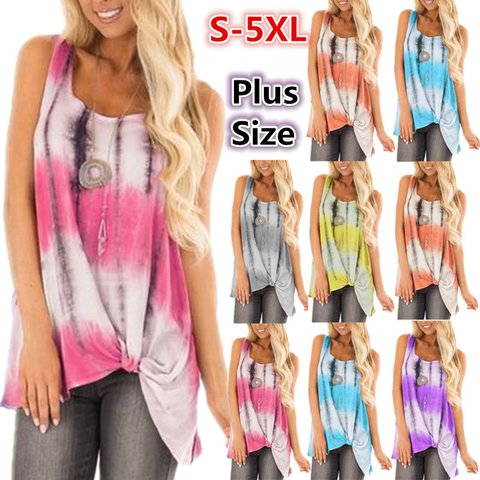Plus Size Casual Round Neck Printed Loose Tops
