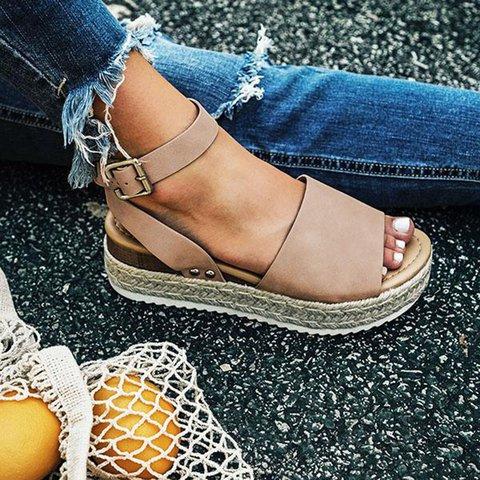 Espadrille Adjustable Buckle Platform Sandals