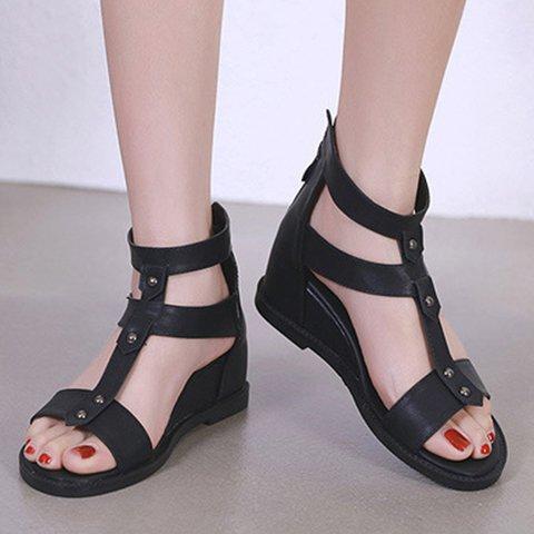 Plus Size Zipper Wedges Open Toe Summer Sandals